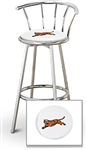 "1 - 29"" Chrome Finish Bar Stool with Backrest Featuring the Cincinnati Bengals Tiger NFL Team Logo Decal on a White Vinyl Covered Seat Cushion"
