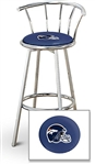 "1 - 29"" Chrome Finish Bar Stool with Backrest Featuring the Denver Broncos Helmet NFL Team Logo Decal on a Blue Vinyl Covered Seat Cushion"