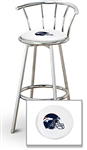 "1 - 29"" Chrome Finish Bar Stool with Backrest Featuring the Denver Broncos Helmet NFL Team Logo Decal on a White Vinyl Covered Seat Cushion"