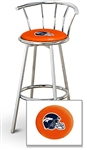 "1 - 29"" Chrome Finish Bar Stool with Backrest Featuring the Denver Broncos Helmet NFL Team Logo Decal on a Orange Vinyl Covered Seat Cushion"