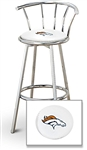 "1 - 29"" Chrome Finish Bar Stool with Backrest Featuring the Denver Broncos NFL Team Logo Decal on a White Vinyl Covered Seat Cushion"