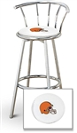 "1 - 29"" Chrome Finish Bar Stool with Backrest Featuring the Cleveland Browns NFL Team Logo Decal on a White Vinyl Covered Seat Cushion"