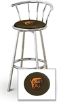 "1 - 29"" Chrome Finish Bar Stool with Backrest Featuring the Cleveland Browns Face NFL Team Logo Decal on a Brown Vinyl Covered Seat Cushion"