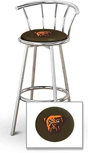 Awe Inspiring 1 29 Chrome Finish Bar Stool With Backrest Featuring The Cleveland Browns Face Nfl Team Logo Decal On A Brown Vinyl Covered Seat Cushion Short Links Chair Design For Home Short Linksinfo