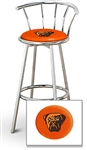 "1 - 29"" Chrome Finish Bar Stool with Backrest Featuring the Cleveland Browns Face NFL Team Logo Decal on a Orange Vinyl Covered Seat Cushion"