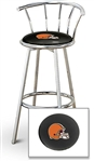 "1 - 29"" Chrome Finish Bar Stool with Backrest Featuring the Cleveland Browns NFL Team Logo Decal on a Black Vinyl Covered Seat Cushion"