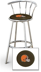 "1 - 29"" Chrome Finish Bar Stool with Backrest Featuring the Cleveland Browns NFL Team Logo Decal on a Brown Vinyl Covered Seat Cushion"