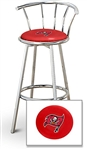"1 - 29"" Chrome Finish Bar Stool with Backrest Featuring the Tampa Bay Buccaneers NFL Team Logo Decal on a Red Vinyl Covered Seat Cushion"