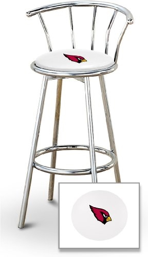 Marvelous 1 29 Chrome Finish Bar Stool With Backrest Featuring The Arizona Cardinals Nfl Team Logo Decal On A White Vinyl Covered Seat Cushion Short Links Chair Design For Home Short Linksinfo
