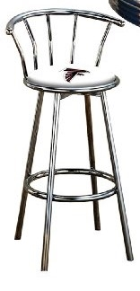 Sensational 1 29 Chrome Finish Bar Stool With Backrest Featuring The Atlanta Falcons Nfl Team Logo Decal On A White Vinyl Covered Seat Cushion Short Links Chair Design For Home Short Linksinfo