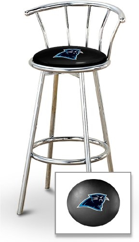 Phenomenal 1 29 Chrome Finish Bar Stool With Backrest Featuring The Carolina Panthers Nfl Team Logo Decal On A Black Vinyl Covered Seat Cushion Short Links Chair Design For Home Short Linksinfo