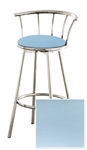 "Bar Stool 29"" Tall Chrome Finish Stool with a Backrest Featuring a Blue Vinyl Covered Seat Cushion (Newport Blue)"