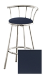 "1 - 29"" Chrome Finish Bar Stool with backrest Featuring a Blue Vinyl Covered Seat Cushion (Catalina Marlin)"