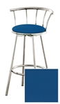 "Bar Stool 29"" Tall Chrome Finish Stool with a Backrest Featuring a Blue Vinyl Covered Seat Cushion (Seabrook Blue)"