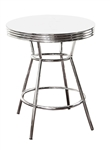 retro chrome finish white table top bar pub apartment table dorm table kitchen table furniture breakfast table man cave mancave