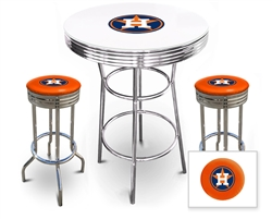 "Bar Table Set 3 Piece with a White and Chrome Table Featuring the Houston Astros MLB Team Logo Decal with a Glass Top and 2-29"" Tall Swivel Seat Stools with the Team Logo on Orange Vinyl Covered Seat Cushions"