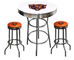 "3 Piece White Pub/Bar Table Featuring the Chicago Bears NFL Team Logo Decal and 2-29"" Orange Vinyl Team Logo Decal Swivel Stools"