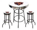 "3 Piece White Pub/Bar Table Featuring the Chicago Bears NFL Team Logo Decal and 2-29"" White Vinyl Team Logo Decal Swivel Stools"