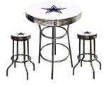 "3 Piece White Pub/Bar Table Featuring the Dallas Cowboys NFL Team Logo Decal and 2-29"" White Vinyl Team Logo Decal Swivel Stools"