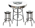 "3 Piece White Pub/Bar Table Featuring the Philadelphia Eagles NFL Team Logo Decal and 2-29"" White Vinyl Team Logo Decal Swivel Stools"