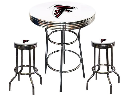3 Piece White Pub/Bar Table Featuring The Atlanta Falcons NFL Team Logo  Decal And
