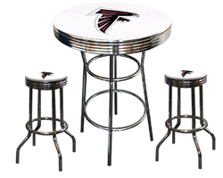 "3 Piece White Pub/Bar Table Featuring the Atlanta Falcons NFL Team Logo Decal and 2-29"" White Vinyl Team Logo Decal Swivel Stools"