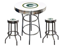"3 Piece White Pub/Bar Table Featuring the Green Bay Packers NFL Team Logo Decal and 2-29"" White Vinyl Team Logo Decal Swivel Stools"