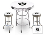 "3 Piece White Pub/Bar Table Featuring the Oakland Raiders NFL Team Logo Decal and 2-29"" White Vinyl Team Logo Decal Swivel Stools"