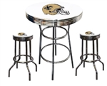 "3 Piece White Pub/Bar Table Featuring the New Orleans Saints Helmet NFL Team Logo Decal and 2-29"" White Vinyl Team Logo Decal Swivel Stools"