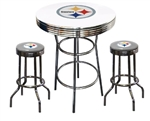 "3 Piece White Pub/Bar Table Featuring the Pittsburgh Steelers NFL Team Logo Decal and 2-29"" Grey Vinyl Team Logo Decal Swivel Stools"