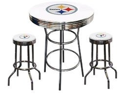 "3 Piece White Pub/Bar Table Featuring the Pittsburgh Steelers NFL Team Logo Decal and 2-29"" White Vinyl Team Logo Decal Swivel Stools"