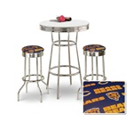 "36"" Tall Chrome Bar Table & 2 Chicago Bears NFL Fabric Seat Barstools"