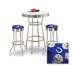 "36"" Tall Chrome Bar Table & 2 Indianapolis Colts NFL Fabric Seat Barstools"