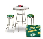 "36"" Tall Chrome Bar Table & 2 Green Bay Packers NFL Fabric Seat Barstools"