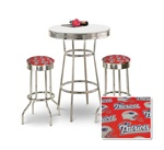 "36"" Tall Chrome Bar Table & 2 New England Patriots NFL Fabric Seat Barstools"