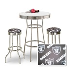 "36"" Tall Chrome Bar Table & 2 Oakland Raiders NFL Fabric Seat Barstools"