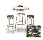 "36"" Tall Chrome Bar Table & 2 Baltimore Ravens NFL Fabric Seat Barstools"