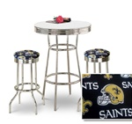"36"" Tall Chrome Bar Table & 2 New Orleans Saints NFL Fabric Seat Barstools"