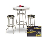 "36"" Tall Chrome Bar Table & 2 Pittsburgh Steelers NFL Black Fabric Seat Barstools"
