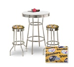 "36"" Tall Chrome Bar Table & 2 Pittsburgh Steelers NFL Yellow Fabric Seat Barstools"