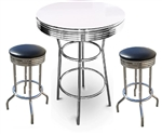 "3 Piece Set - 42"" Tall White and Chrome Finish Table with 2-29"" Black Vinyl Swivel Seat Bar Stools"