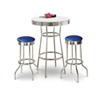 "36"" Tall Chrome Bar Table & 2 Glitter Blue Vinyl Seat Barstools"