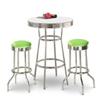 "36"" Tall Chrome Bar Table & 2 Glitter Green Vinyl Seat Barstools"