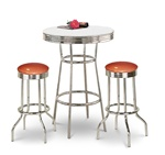 "36"" Tall Chrome Bar Table & 2 Glitter Copper Vinyl Seat Barstools"