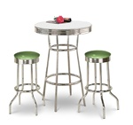 "36"" Tall Chrome Bar Table & 2 Glitter Emerald Vinyl Seat Barstools"
