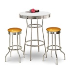 "36"" Tall Chrome Bar Table & 2 Glitter Gold Vinyl Seat Barstools"