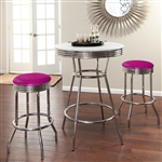 "36"" Tall Chrome Bar Table & 2 Glitter Lavender Vinyl Seat Barstools"