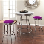 "36"" Tall Chrome Bar Table & 2 Glitter Purple Vinyl Seat Barstools"