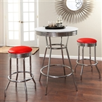 "36"" Tall Chrome Bar Table & 2 Glitter Red Vinyl Seat Barstools"