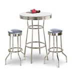 "36"" Tall Chrome Bar Table & 2 Glitter Silver Vinyl Seat Barstools"